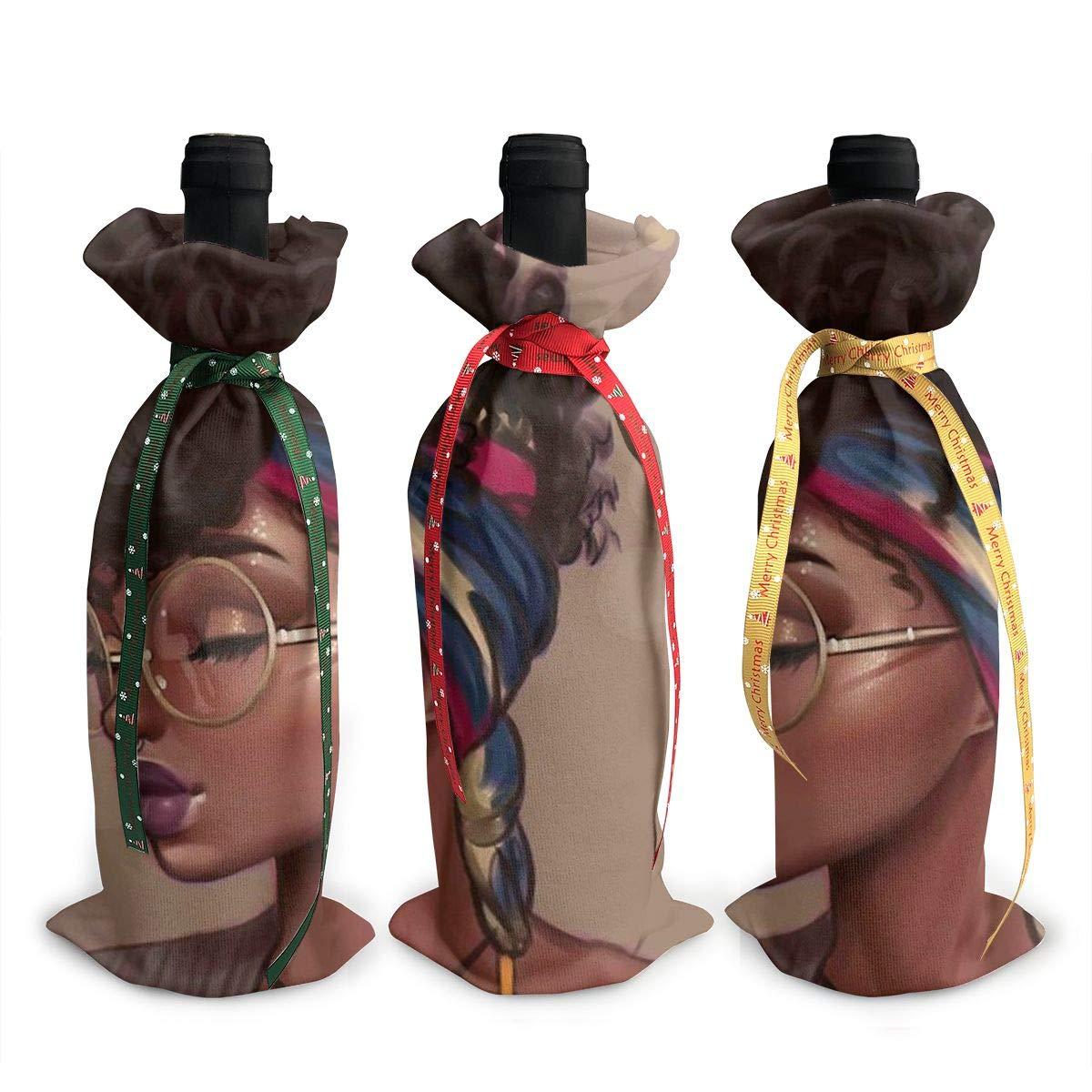 セクシー レディース アフリカンアメリカン ブラック レディース ワイン トートキャリアバッグ/財布 旅行、キャンプ、ピクニック用 3個セット B07K4WK1BS
