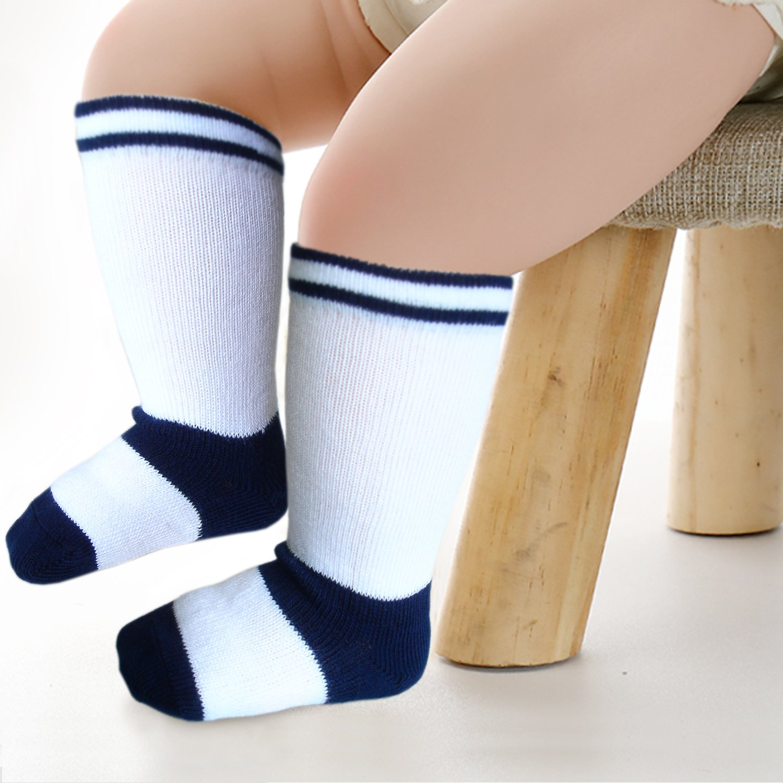 Baby boys knee high socks with seamless toe for sensitive feet