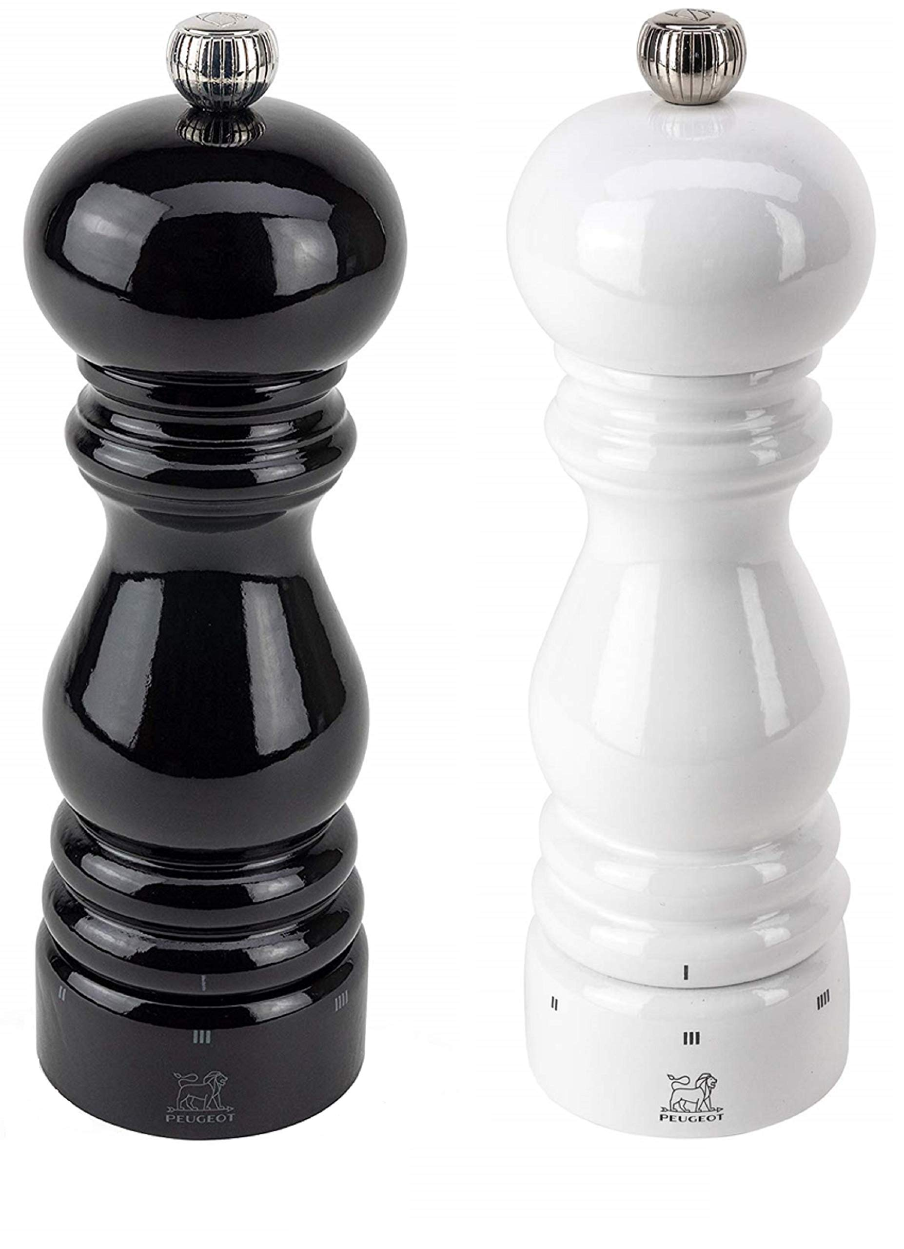 Peugeot Paris U'Select Lacquer Salt And Pepper Mill Set 7'', Black And White by Peugeot