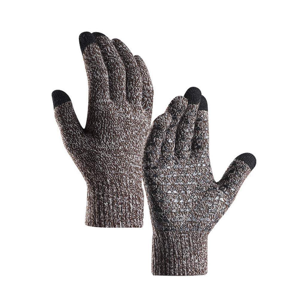 yanbirdfx 1 Pair Winter Cycling Full Finger Knitted Warm Men Women Touch Screen Gloves - Men Coffee+White