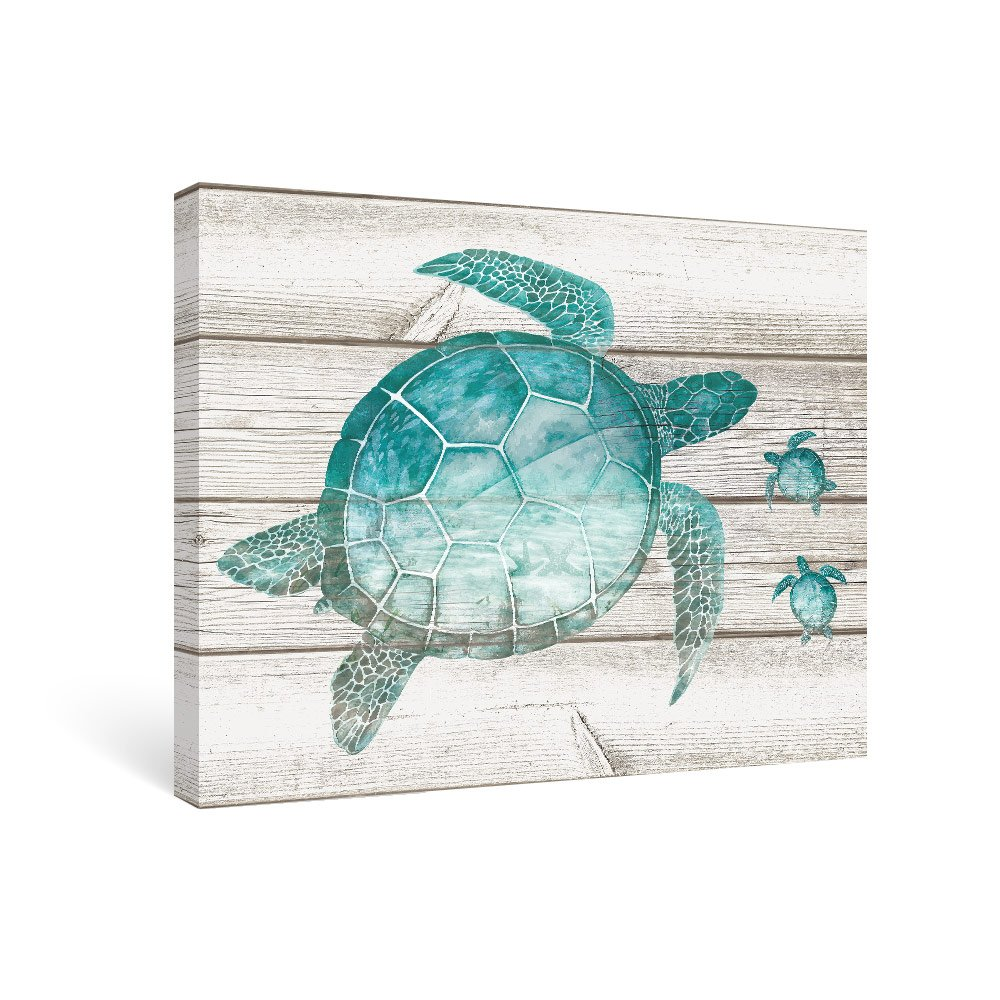 SUMGAR Wall Art for Bathroom Teal Sea Turtle Wall Decor Vintage Paintings on Canvas Framed Prints, 12''x16''