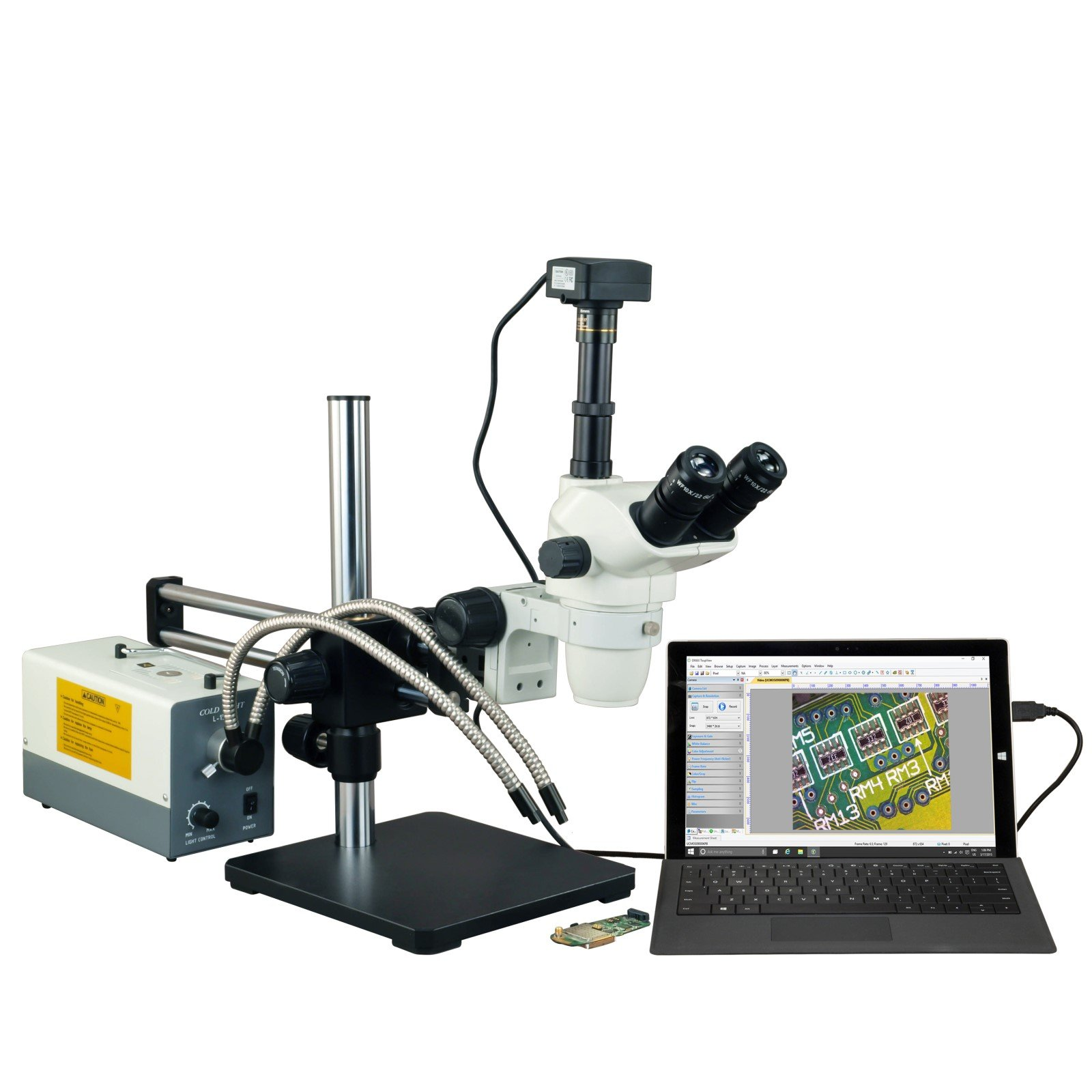 OMAX 2X-270X USB3 18MP Simal-focal Zoom Stereo Microscope on Ball-Bearing Boom+150W Dual Fiber Light by OMAX