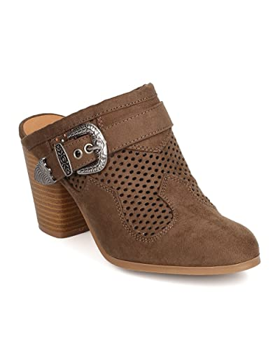 FD91 Women Faux Suede Perforated Buckled Chunky Heel Mule - Khaki