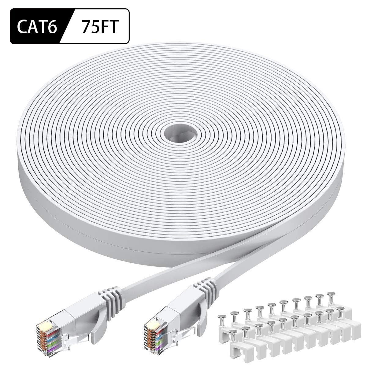 Cat6 Ethernet Cable 75 FT White, BUSOHE Cat-6 Flat RJ45 Computer Internet LAN Network Ethernet Patch Cable Cord - 75 Feet by BUSOHE