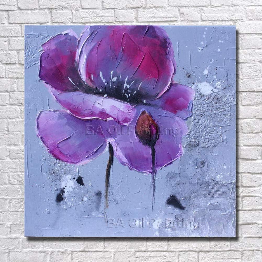 ZJFDZH Pintado a Mano Flor Abstracta Pintura al óleo Cuadro Decorativo Decoración de la Sala sin Cuadros de Pared enmarcados