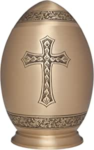 Gold Cross Cremation Urn with by Liliane Memorials - Urns for Human Ashes Remains - Brass - Suitable for Funeral Cemetery Burial or Niche - Large Size for Adults up to 200 lbs - Egg