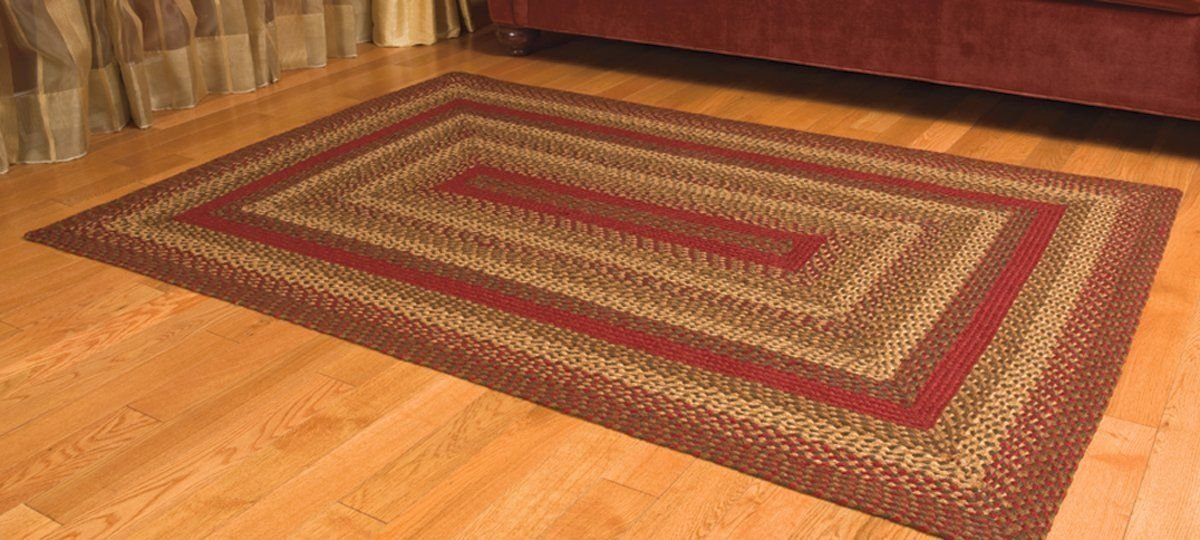 IHF Home Decor 4' x 6' Rectangle Braided Rug Cinnamon Design Area Accent Floor Carpet Jute Fabric