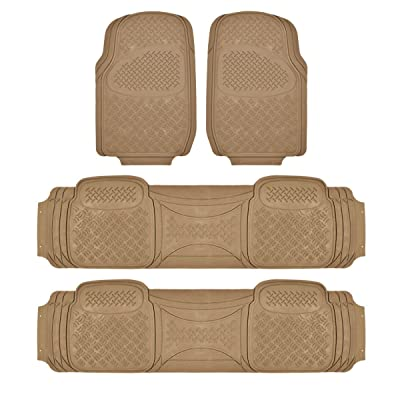 BDK Heavy Duty VAN SUV Rubber Floor Mats - 4 Pieces 3 Rows Full Set- All Weather Trimmable Mat (Beige) - MT-713-711-BG_AMHD: Automotive