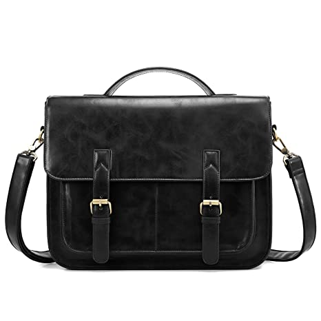 d665b0a6d9dd Image Unavailable. Image not available for. Color  ECOSUSI Messenger Bag PU  Leather Laptop Briefcase 14 inch ...