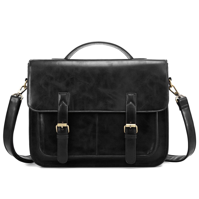 ECOSUSI 14 Inch Messenger Bag Vintage PU Leather Briefcase Computer Laptop Bag Satchel Shoulder Bag for Men and Women, Black