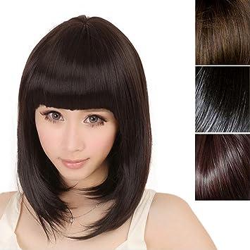 Pelucas cabello natural, Culater mujer manera nuevas cortan la peluca llena recta de Cosplay pelo
