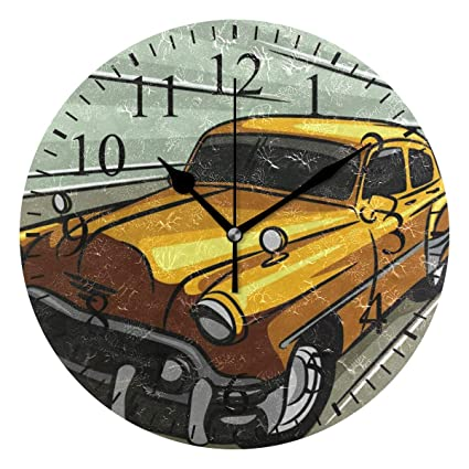 Amazon Com Grapefruit Boy Wall Clock 10 Inch Vintage Car