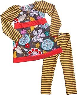 product image for Cheeky Banana Big Girls Tunic Top & Leggings Set - Grey,Yellow Stripes, Coral