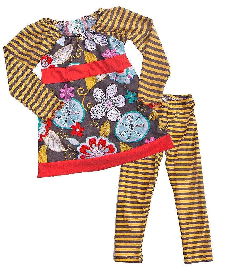 Coral Cheeky Banana Big Girls Tunic Top /& Leggings Set Grey,Yellow Stripes