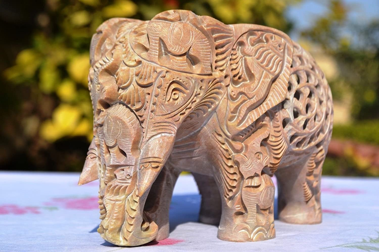 Craftvatikas 8 Large Elephant Figurines Soapstone Elephant Hand Carving Carved Elephant Sculpture with Another Elephant Inside Lucky