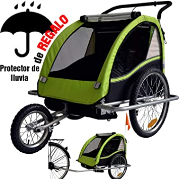RBO Remolque de Bicicleta para niños, carritos para Bicicleta, Elegant, biplaza, Plegado