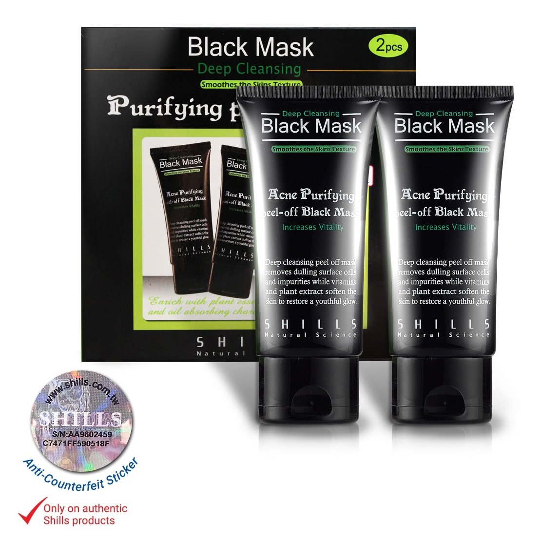 SHILLS Original Peel Off Black Mask With Activated Charcoal Deep Cleansing Purifying With New & Improved Formula For 2017, 100% Genuine, Natural, Oil-Control, Blackhead Removing (50ml) (Single Pack) SHIBLMT