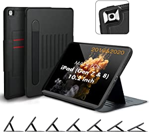 VEIMER Case for iPad 8th/7th Generation 10.2 inch with Apple Pencil Holder Shock Proof Smart Auto Sleep Cover Leather Magnetic Stand & Card Slot for ipad 2020/2019 (Black)