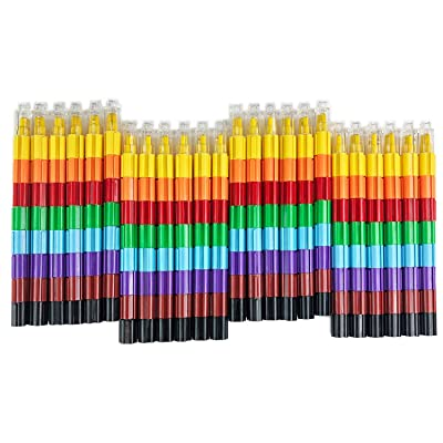 Huji Stacking Buildable 8 Colors Crayons Set, Connect Stack and Build Crayons Sideways and Up, Favorite Toys Kids Party Favors Safe Non-Toxic, Easy to Hold (Building-Blocks, 24): Office Products