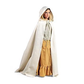 e6f55908fd2e Mittelalter Cape mit Kapuze für Kinder schnürbare Gewandung bodenlang LARP  Kostüm natur - 5 7 Jahre