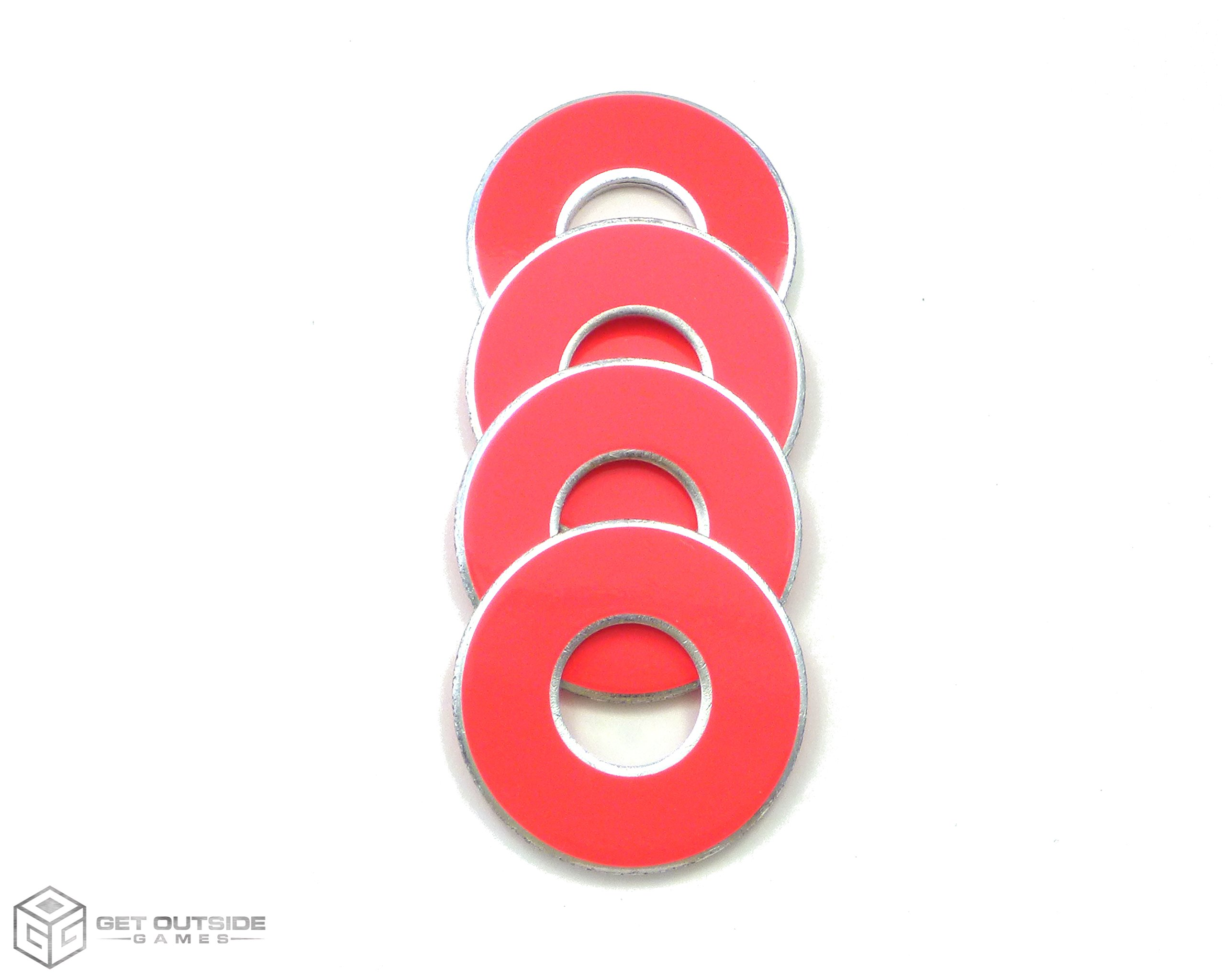 Get Outside Games 4 Neon Fluorescent VVashers - Washer Toss/Washer Game Washers - 5 Colors (Pink, 4 VVashers with Container) by Get Outside Games