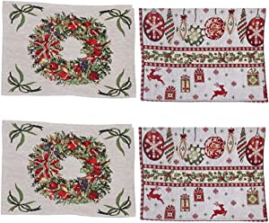 """CheeseandU Pack of 4 Christmas Dining Table Placemats Christmas Wreath Reindeer Snowflakes Xmas Hanging Ball Design Knitted Country Xmas Holiday Season Decorative Tapestry Placemats 16.5""""x13.4"""""""