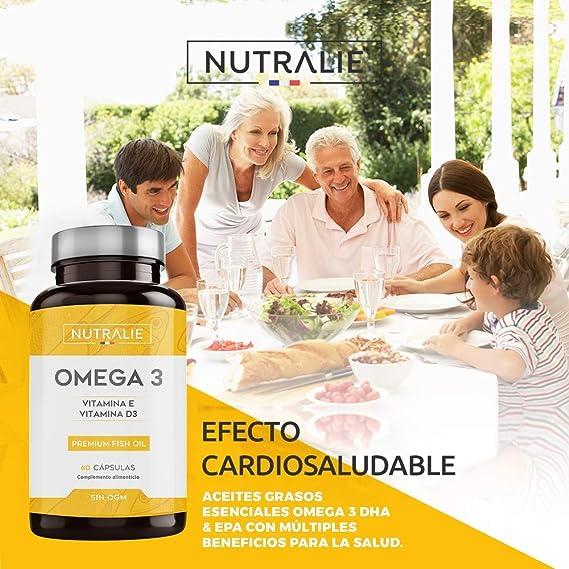 Omega 3 2000mg + Vitaminas D3 y E | 1250mg EPA-DHA por Dosis | Aceite de Pescado Altamente Concentrado 60 Cápsulas | Nutralie: Amazon.es: Salud y cuidado personal
