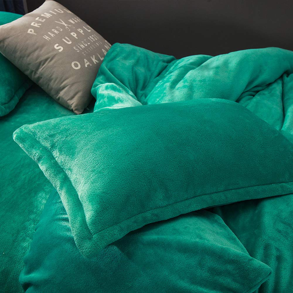 Full//Queen Size Bedding Use It as Blanket or Throw in Spring and Autumn as Quilt in Summer Include Duvet Cover Pink Velvet Flannel Duvet Cover Set for Winter Pillow Sham and Flat Sheet