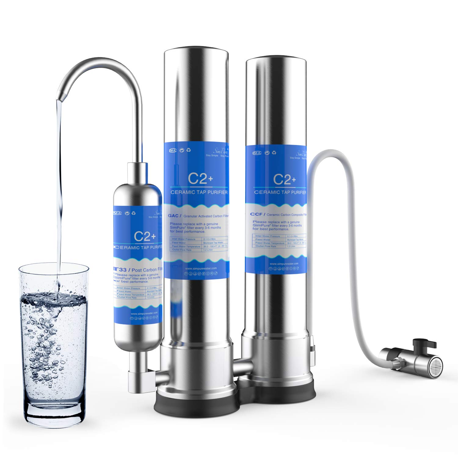 SimPure Dual-Stage Countertop Water Filter, Drinking Water Filtration System, Built-in Carbon Block Filter and Post Carbon Filter, Perfect for Healthier Fresher Purified Water