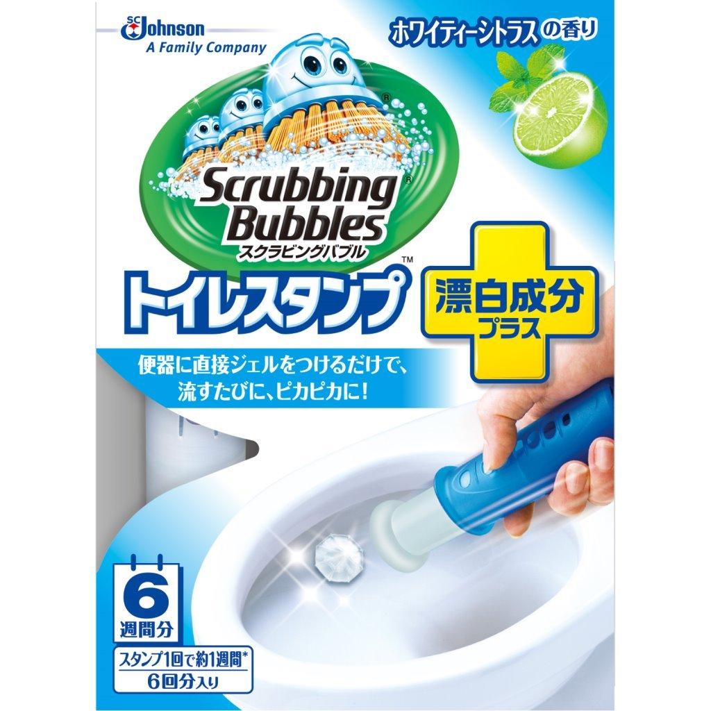 スクラビングバブル トイレ洗浄剤 トイレスタンプ 漂白成分プラス ホワイティーシトラスの香り 本体 (ハンドル1本+付替用1本) 6スタンプ分 38g ¥258