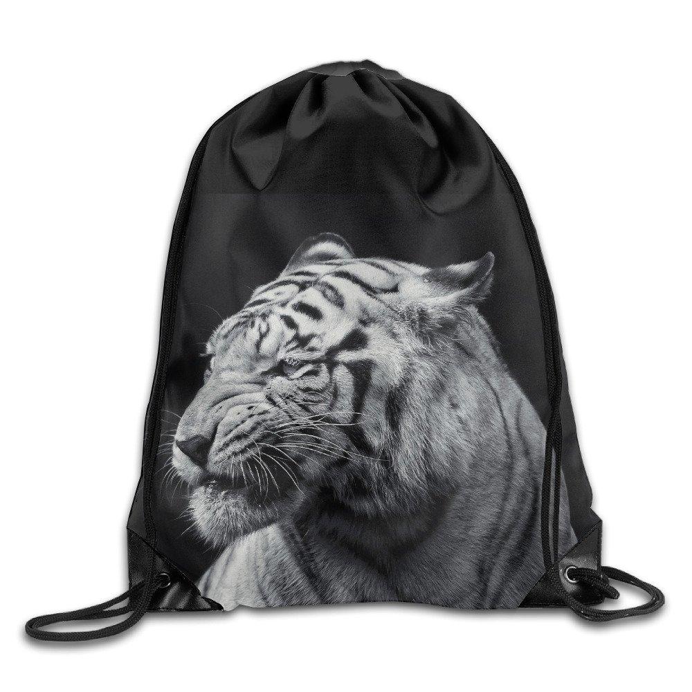 low-cost Tiger Black And White Print Shoulder Drawstring Bags Basic Drawstring Tote Cinch Sack Promotional Backpack Bag Cinchbag