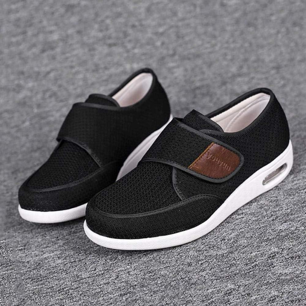 Nwarmsouth Zapatos ortopédicos Ajustables,Pies hinchados, obesos, pies Grandes, Zapatos Viejos con Empeine alto-47_Black,Zapatos ortopédicos Ajustables