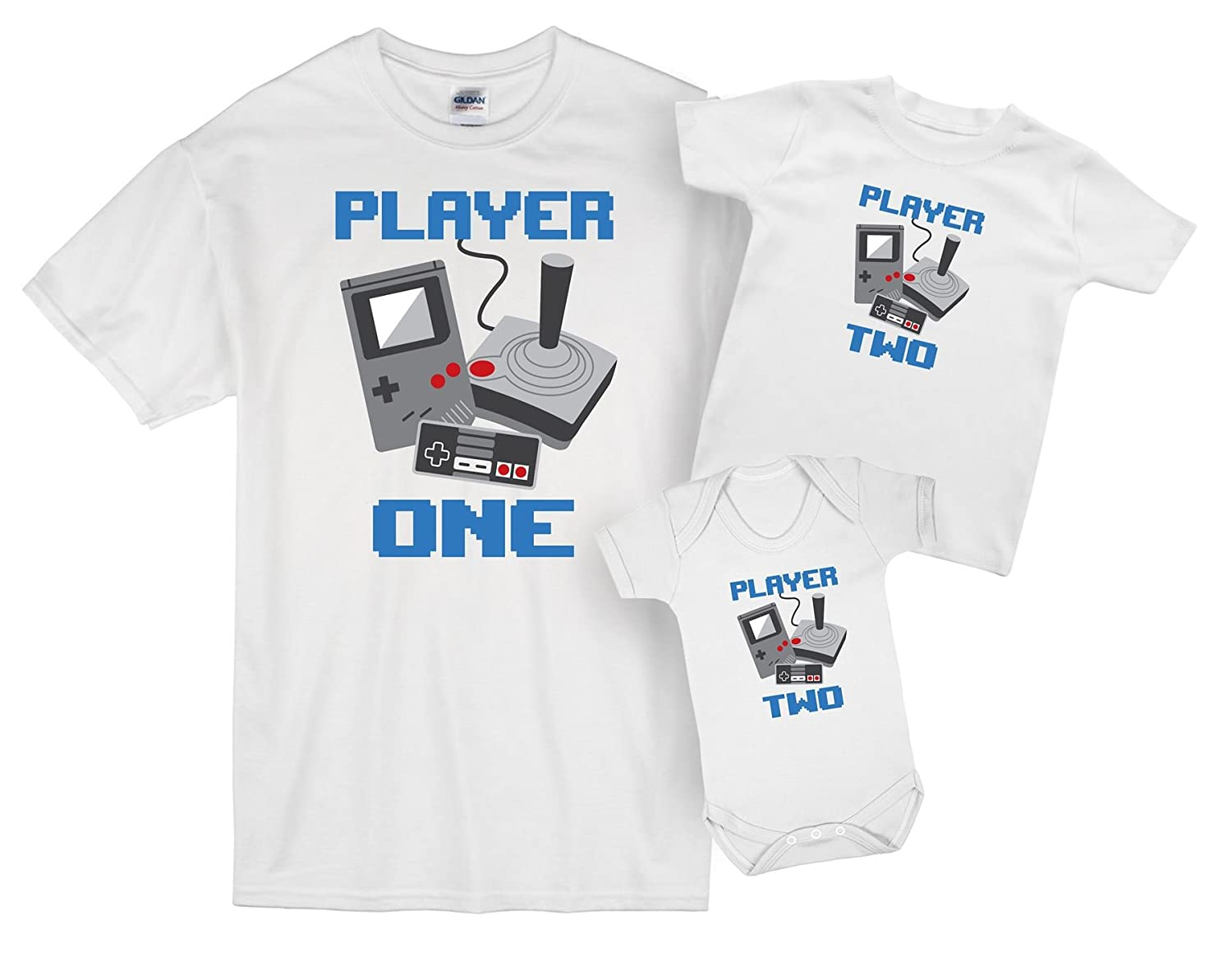 ART HUSTLE Retro Player One and Player Two Father and Baby Matching Outfits
