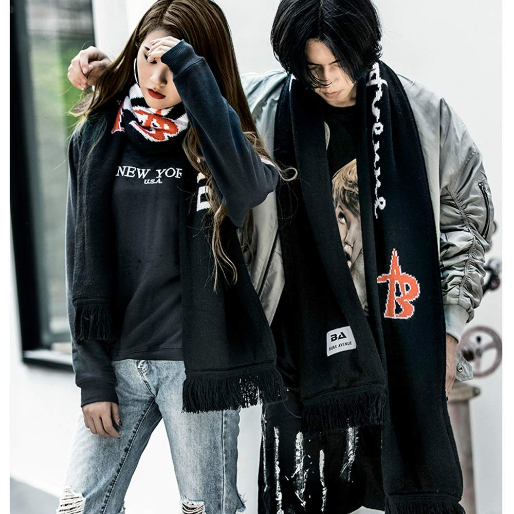 Womens Scarf Winter Hip Hop Wool Warm Scarf Couple Collar Personality Street Fashion Trend Thick Warm Scarf Scarf