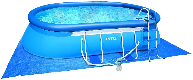 Intex Frame Pool Set Oval 549 x 305 x 107 cm, Kartuschenfilter 3.800 l/h, Leiter, Abdeckplane, Bodenschutzplane, Skimmer, Reinigungsset, 54432
