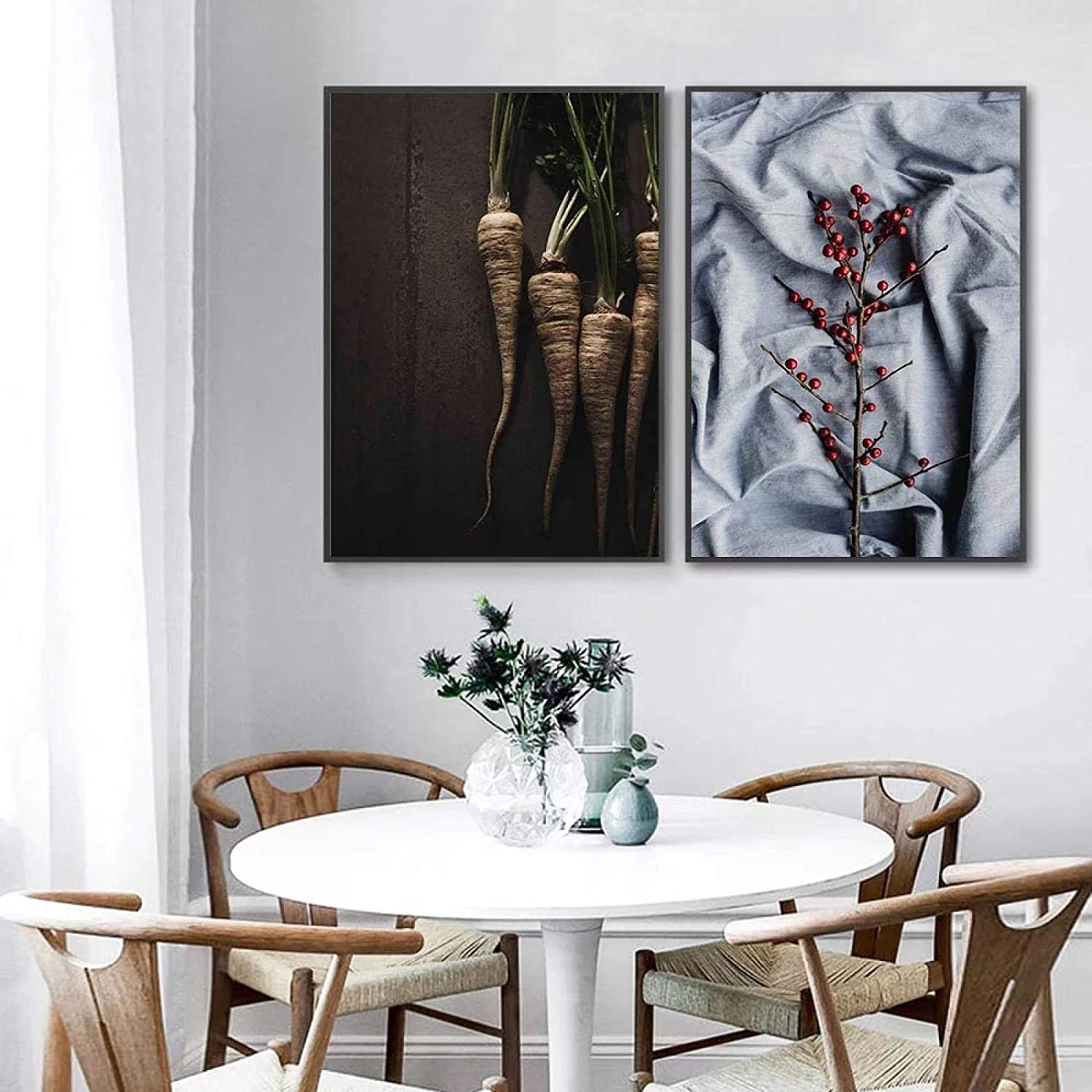 """YQLKC Food Poster Breakfast Canvas Painting Radish and Bread Wall Art Print Nordic Modern Pictures for Kitchen Room Decor 11.8""""x19.6""""(30x50cm) x2 Frameless"""