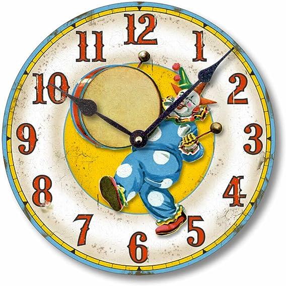 Fairy Freckles Studios Item C6034 Vintage Style Circus Clown Clock 12 Inch Diameter