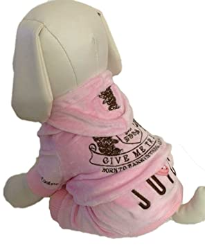 C16 Juicy Couture Dog Clothes Velour Sweatshirt Hoodie Pink Large   Amazon.ca  Pet Supplies ab68117d1ad9