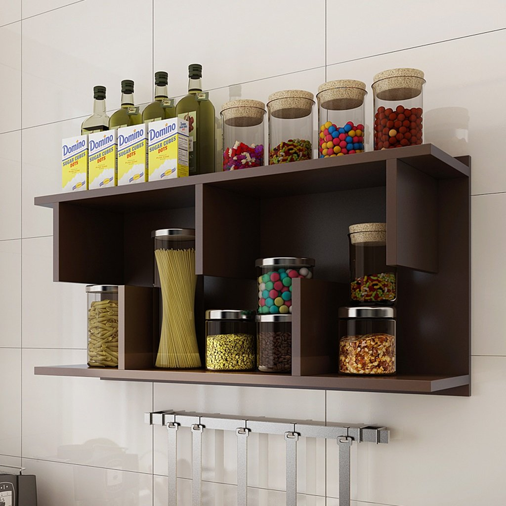 Kitchen Shelf Wall Stretcher Storage Shelf Bathroom Cabinet Storage Tower Cabinet Cabinet LH: 8030cm ( Color : Coffee color )