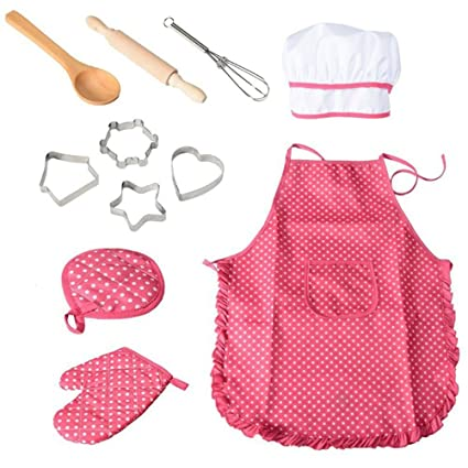 6474053dbe2 BESTONZON - Conjunto de 11 piezas de chef para niños con gorro de cocinero y  utensilios
