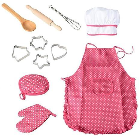 BESTONZON - Conjunto de 11 piezas de chef para niños con gorro de cocinero y utensilios