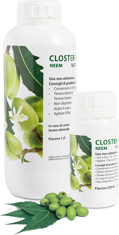 CLOSTER Aceite de Neem Puro 250ML - Insecticida Plantas Natural Anti Mosquitos contra Chinches Pulgones Cochinilla Piojos Araña Roja - Desinfestante Eficaz y Ecológico (250 ML)