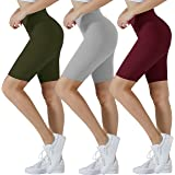 """SanAogo High Waisted Biker Shorts for Women Buttery Soft Workout Athletic Yoga 8"""" Shorts 3 Pack"""