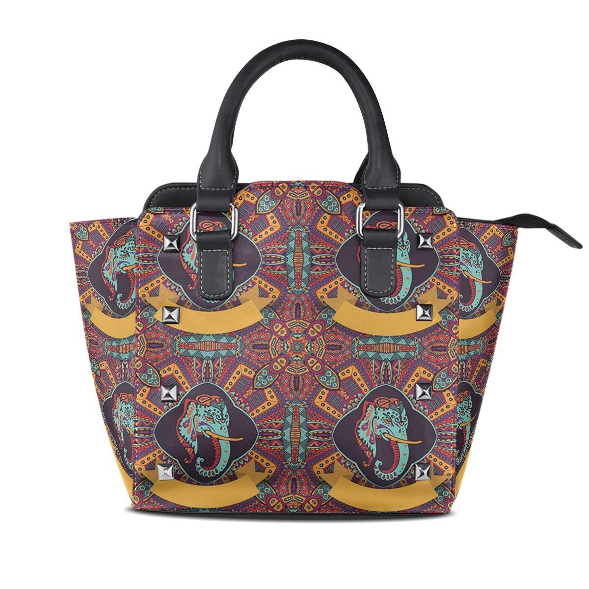 Design3 Handbag Tribal Style Elephant And Lotus Genuine Leather Tote Rivet Bag Shoulder Strap Top Handle Women