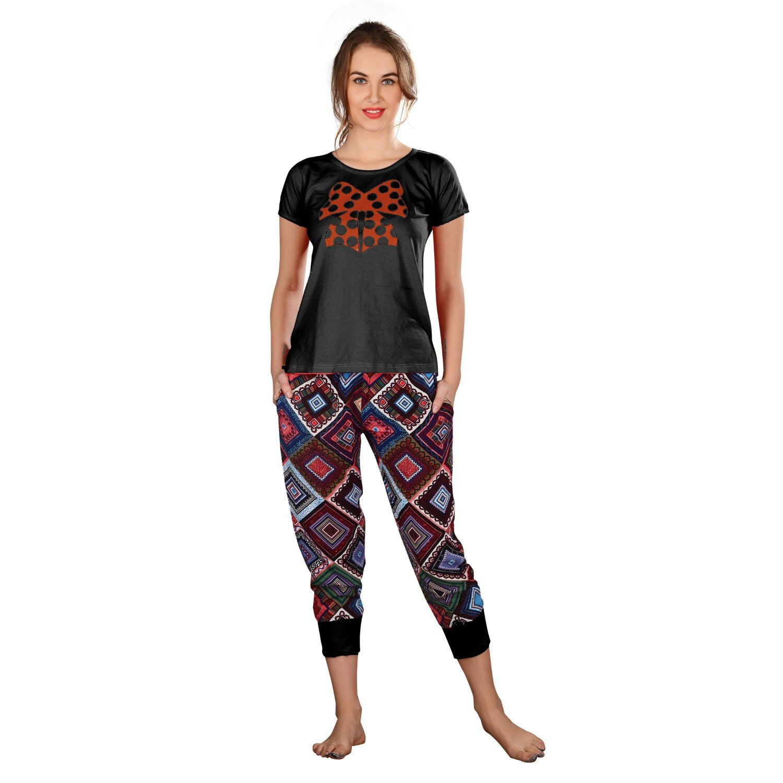 94da00ef67 FARRY Relaxing Stylish Women Night Dress - Comfortable and Soft Night Wear  Cotton Jersey Rayon for Ladies Women Night Sleepwear, Night Suit, Top &  Capri Set