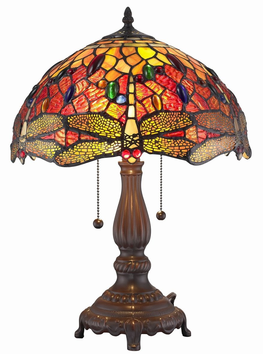 Amora Lighting Amora Lighting AM1035TL14 Tiffany Style Dragonfly Table Lamp 2 lights