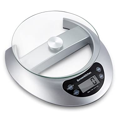 Bonsenkitchen Digital Food Scale Sensitive Kitchen Scale for Cooking and Baking with Tare Function and Removal Glass Tray, 5kg 11lb, High Precision Sensor System, Silver (KS8802)
