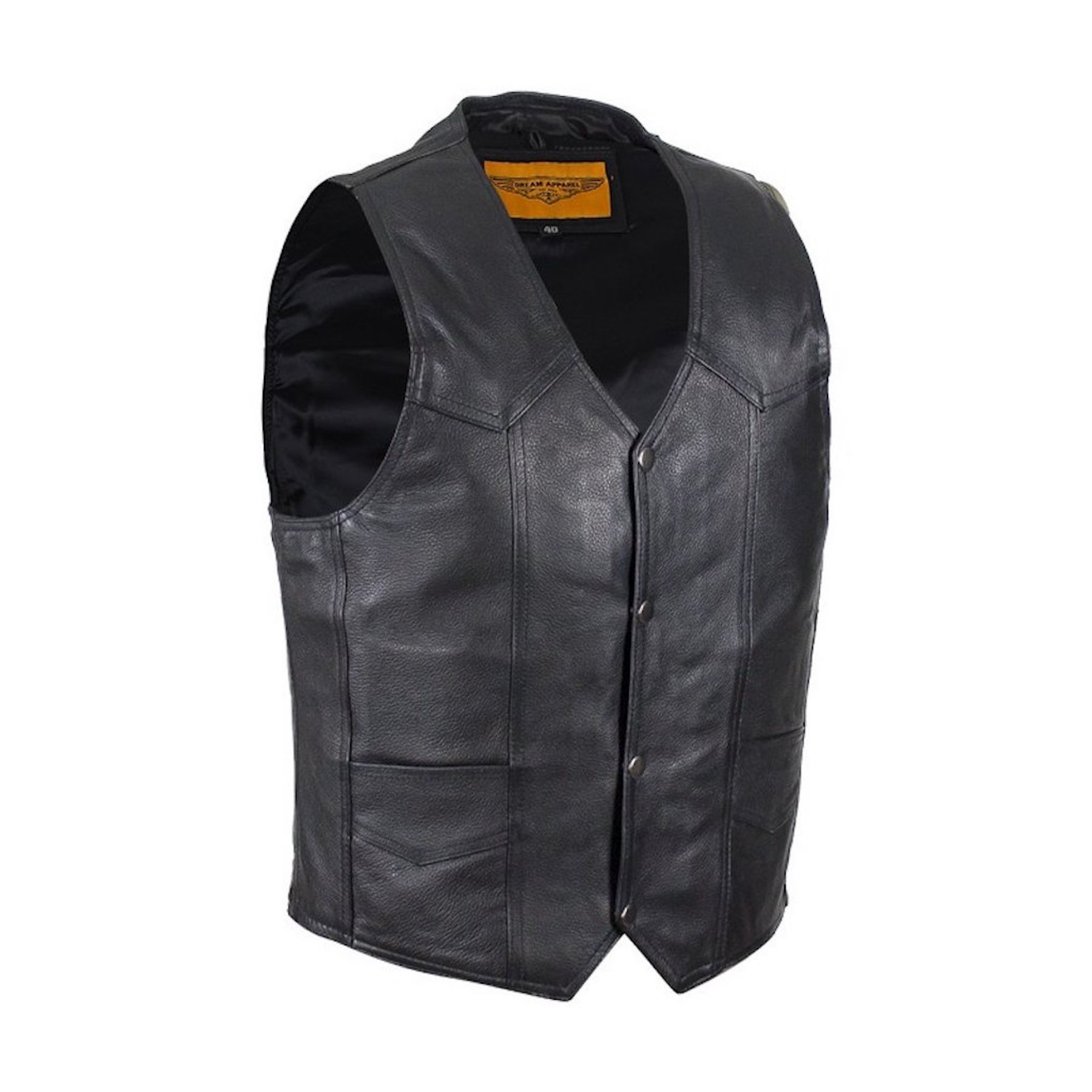 Mens Plain Black Leather Motorcycle Vest with Gun Pocket Solid Back (42) by Ultimate Leather Apparel