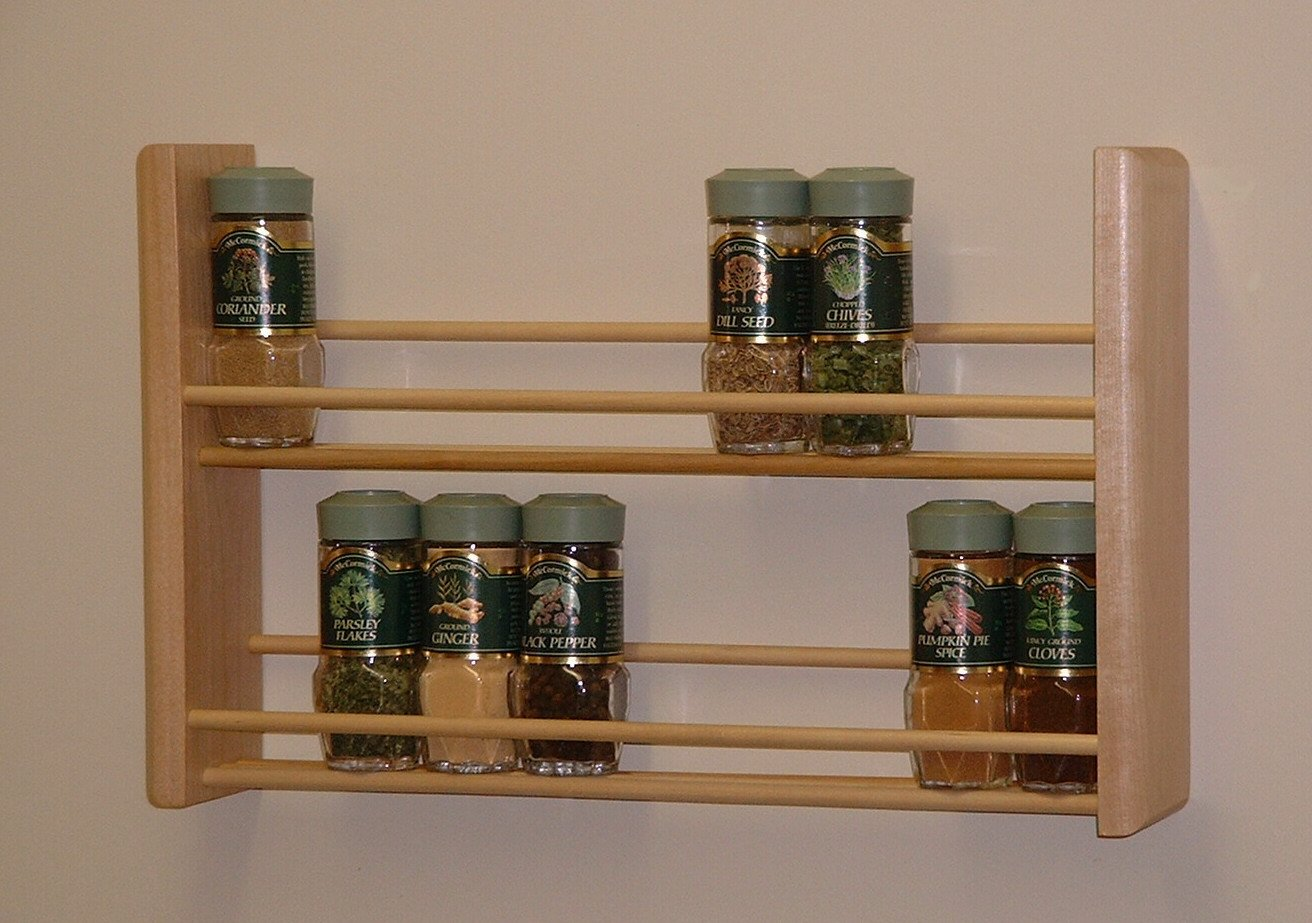 Amazon.com: Spice Rack, Two Tier, Natural MADE IN USA: Wooden Spice Racks  Wall Mount: Kitchen & Dining