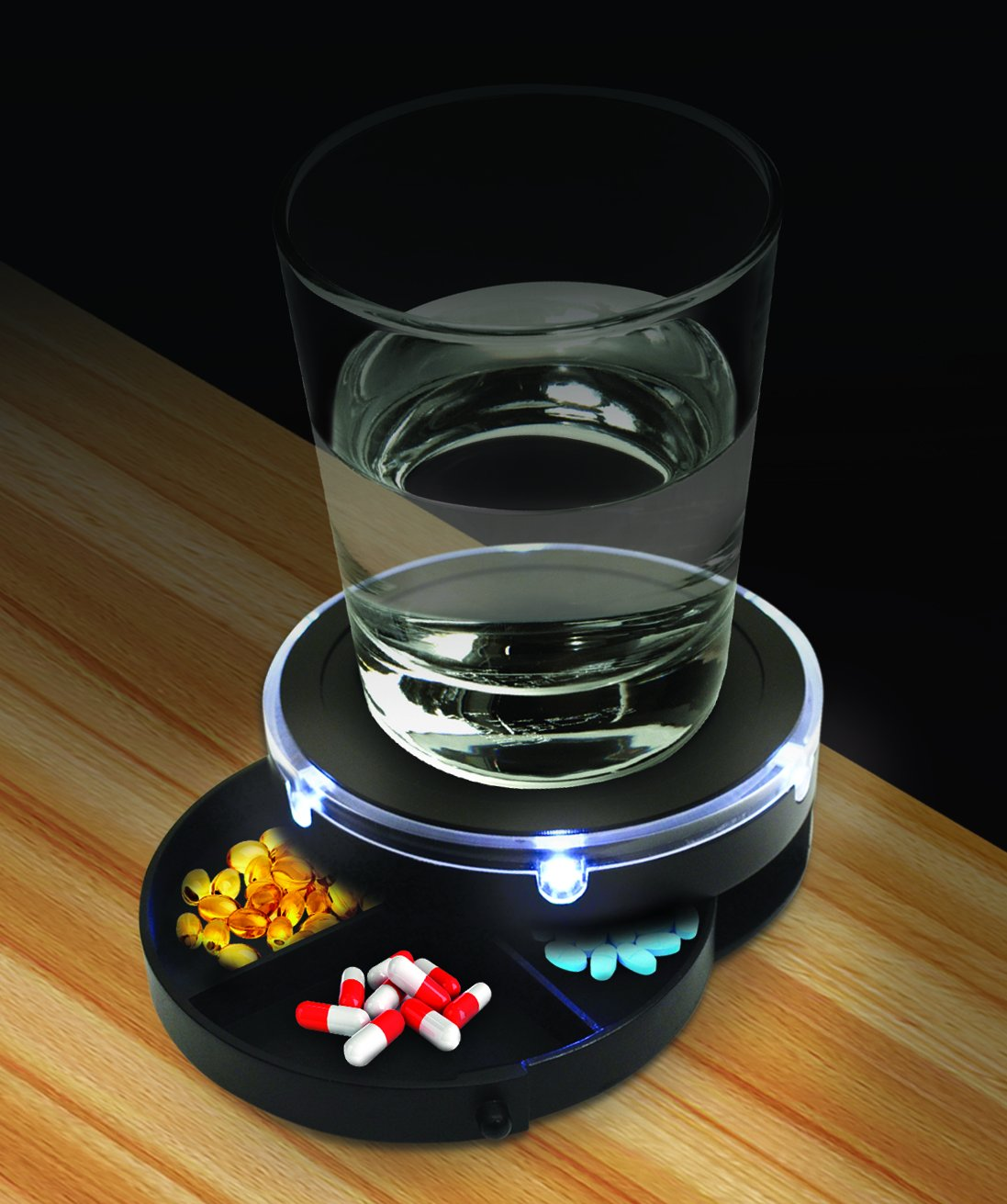 SOUND ACTIVATED LED LIGHTED NIGHTSTAND CADDY WITH PILL CONTAINER